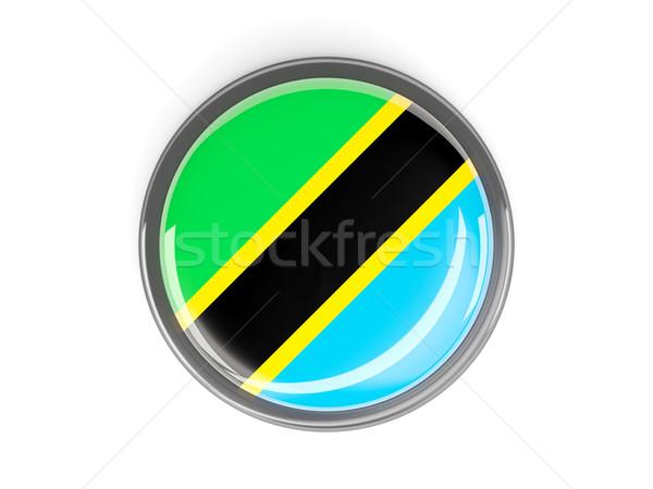 Przycisk banderą Tanzania metal ramki podróży Zdjęcia stock © MikhailMishchenko