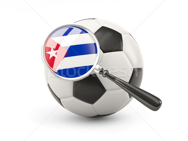 サッカー 拡大された フラグ キューバ 孤立した 白 ストックフォト © MikhailMishchenko