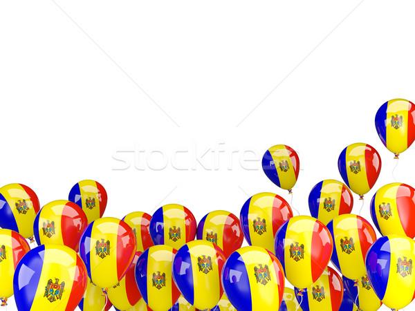 Repülés léggömbök zászló Moldova izolált fehér Stock fotó © MikhailMishchenko
