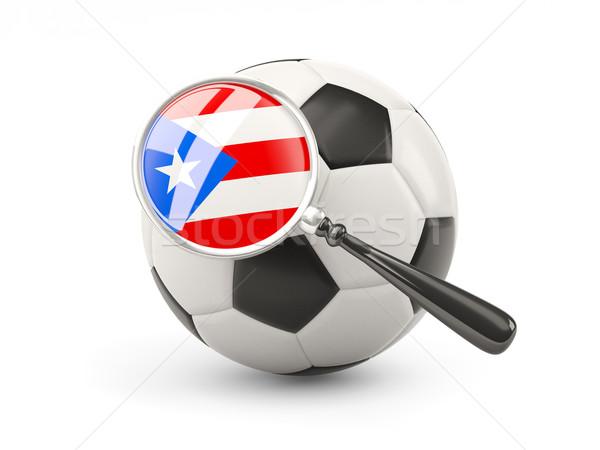 サッカー 拡大された フラグ プエルトリコ 孤立した 白 ストックフォト © MikhailMishchenko