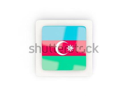 Foto stock: Icono · bandera · Azerbaiyán · aislado · blanco · país