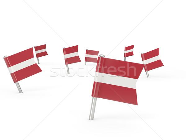 Kare bayrak Letonya yalıtılmış beyaz ülke Stok fotoğraf © MikhailMishchenko