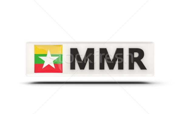 Vierkante icon vlag Myanmar iso code Stockfoto © MikhailMishchenko