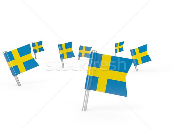 Vierkante vlag Zweden geïsoleerd witte land Stockfoto © MikhailMishchenko