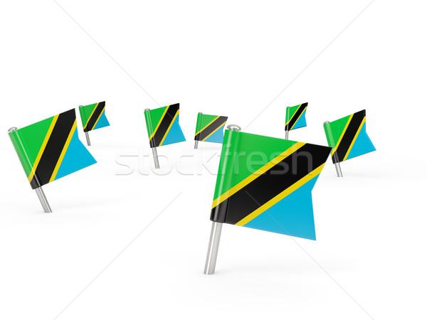 Kare bayrak Tanzanya yalıtılmış beyaz ülke Stok fotoğraf © MikhailMishchenko