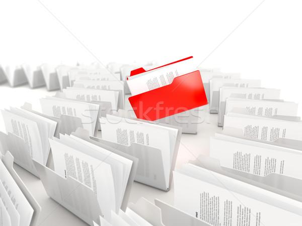 Piros mappa csetepaté izolált fehér információ Stock fotó © MikhailMishchenko