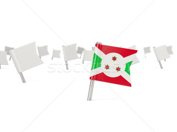 Praça pin bandeira Burundi isolado branco Foto stock © MikhailMishchenko