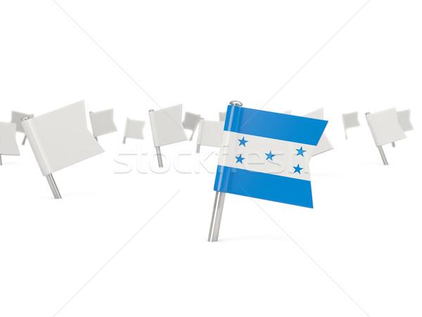 квадратный Pin флаг Гондурас изолированный белый Сток-фото © MikhailMishchenko