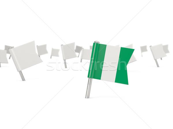 Praça pin bandeira Nigéria isolado branco Foto stock © MikhailMishchenko