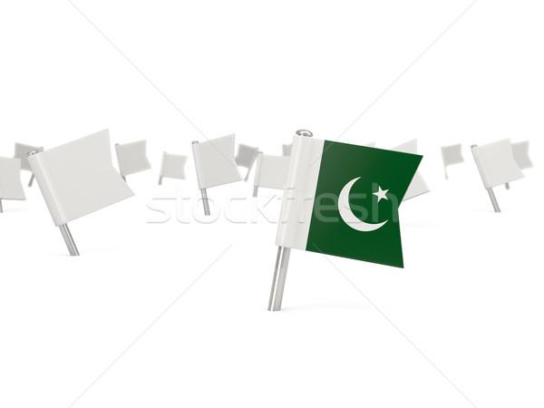 Tér tő zászló Pakisztán izolált fehér Stock fotó © MikhailMishchenko