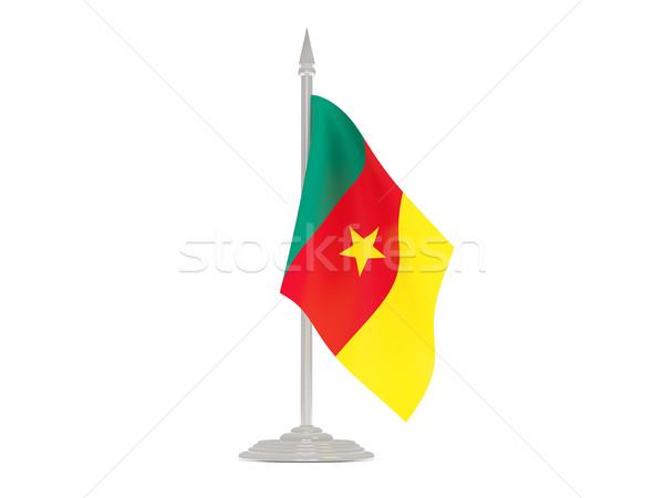 Banderą Kamerun maszt 3d odizolowany biały Zdjęcia stock © MikhailMishchenko