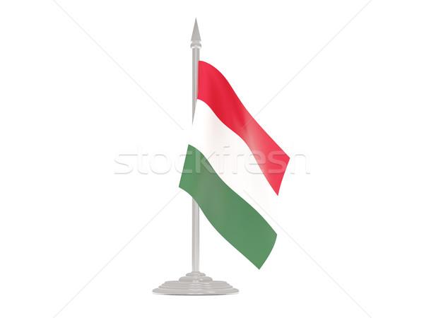 флаг Венгрия флагшток 3d визуализации изолированный белый Сток-фото © MikhailMishchenko
