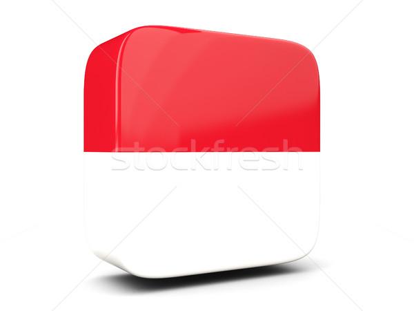 Kare ikon bayrak Endonezya 3d illustration yalıtılmış Stok fotoğraf © MikhailMishchenko