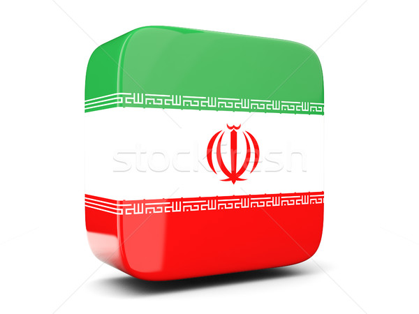 Square icon with flag of iran square. 3D illustration Stock photo © MikhailMishchenko