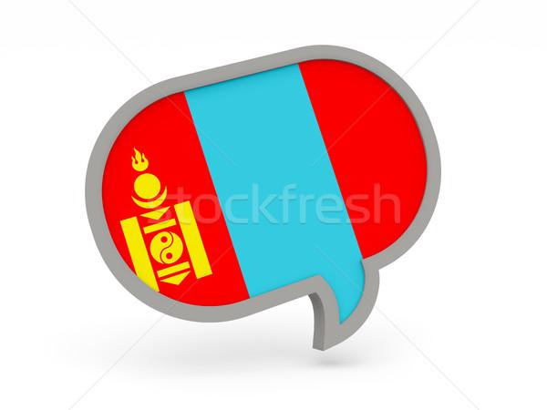 Chat ikon zászló Mongólia izolált fehér Stock fotó © MikhailMishchenko