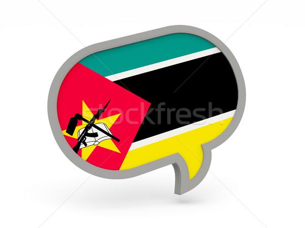 Conversar ícone bandeira Moçambique isolado branco Foto stock © MikhailMishchenko