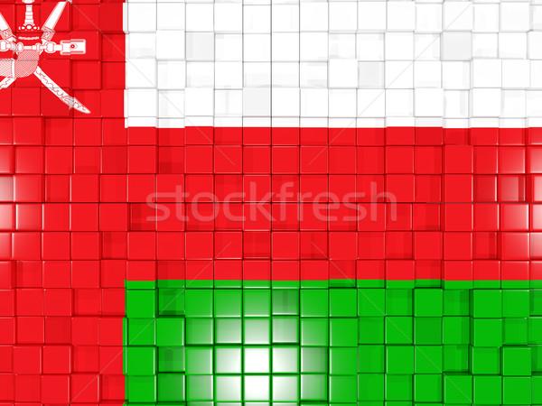 квадратный флаг Оман 3d иллюстрации мозаика Сток-фото © MikhailMishchenko