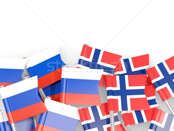 Flag pins of Russia and Norway isolated on white Stock photo © MikhailMishchenko