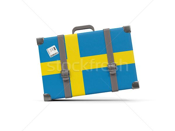 Luggage with flag of sweden. Suitcase isolated on white Stock photo © MikhailMishchenko