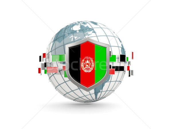 Globe and shield with flag of afghanistan isolated on white Stock photo © MikhailMishchenko