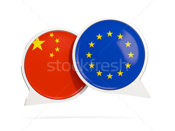 Chat bubbles of China and EU isolated on white Stock photo © MikhailMishchenko