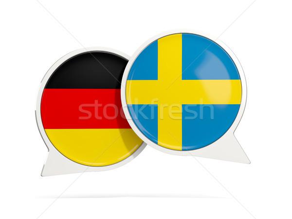 チャット 泡 ドイツ スウェーデン 孤立した 白 ストックフォト © MikhailMishchenko