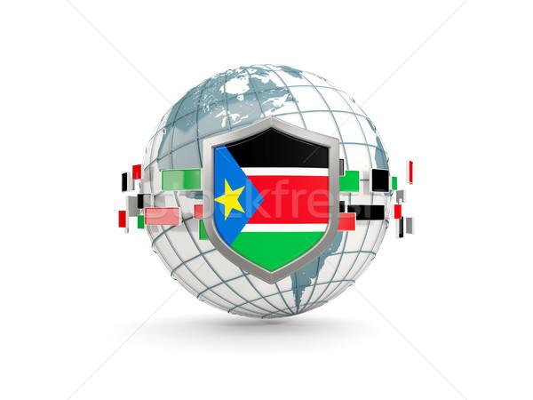 Wereldbol schild vlag zuiden Soedan geïsoleerd Stockfoto © MikhailMishchenko