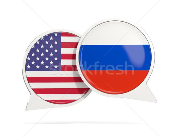 Chat bolle USA Russia isolato bianco Foto d'archivio © MikhailMishchenko
