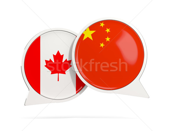 Chat bubbles of Canada and China isolated on white Stock photo © MikhailMishchenko
