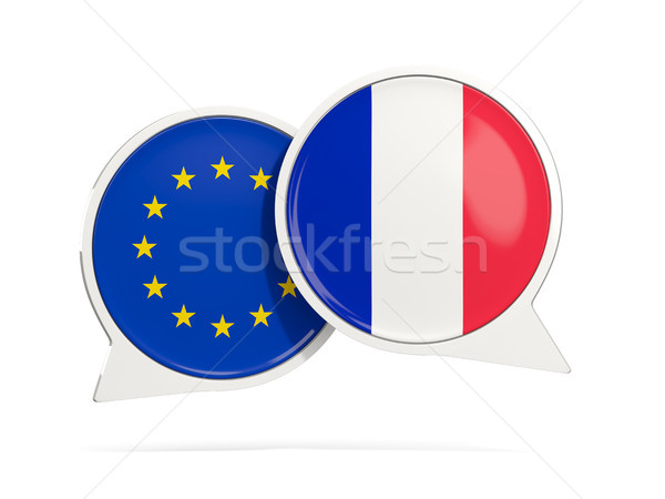 Chat bubbles of EU and France isolated on white Stock photo © MikhailMishchenko