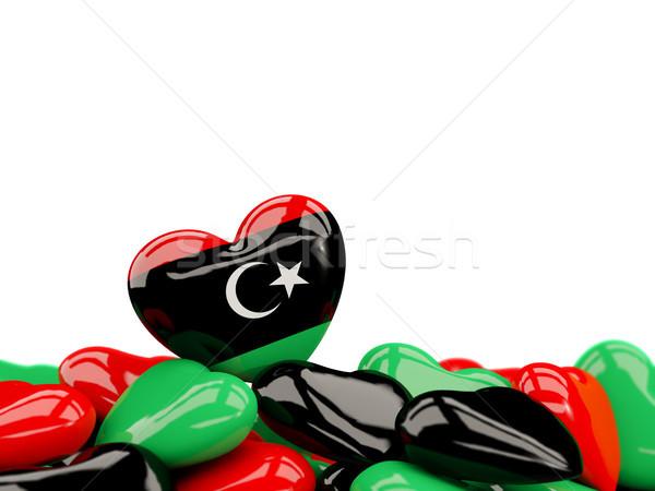 Serca banderą Libia górę serca odizolowany Zdjęcia stock © MikhailMishchenko