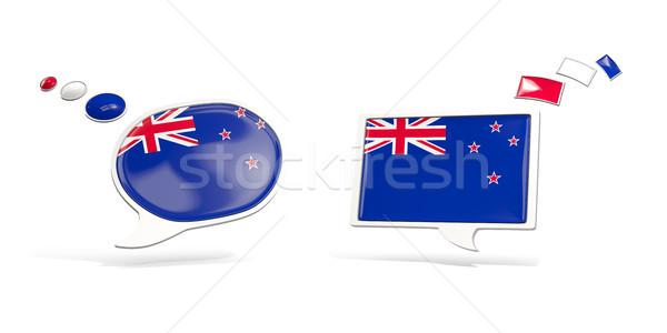 Dois conversar ícones bandeira Nova Zelândia praça Foto stock © MikhailMishchenko