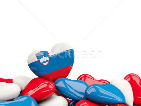 Szív zászló Szlovénia felső szívek izolált Stock fotó © MikhailMishchenko