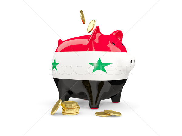 Foto stock: Gordura · piggy · bank · Síria · dinheiro · isolado · branco