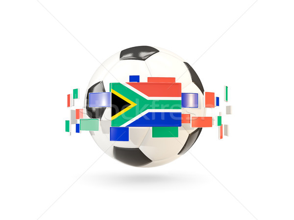 Soccer ball with line of flags. Flag of south africa Stock photo © MikhailMishchenko