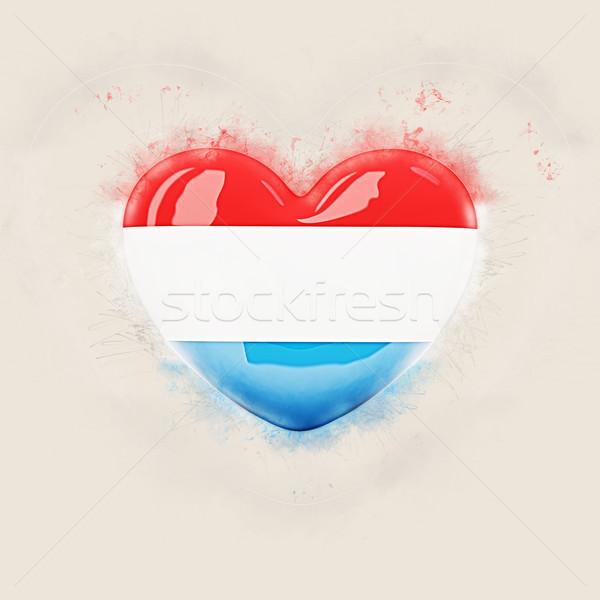 Szív zászló Luxemburg grunge 3d illusztráció utazás Stock fotó © MikhailMishchenko