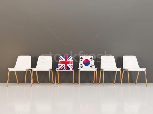 Cadeiras bandeira Reino Unido Coréia do Sul ilustração 3d Foto stock © MikhailMishchenko