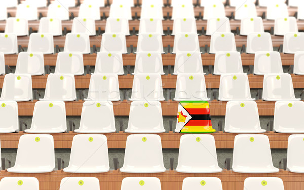 Stadion ülés zászló Zimbabwe csetepaté fehér Stock fotó © MikhailMishchenko