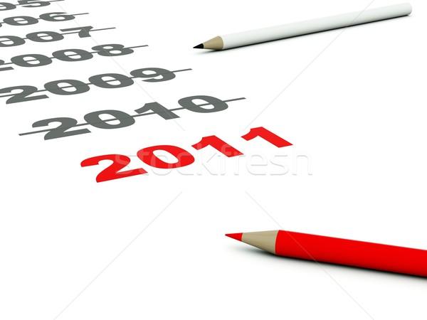 2011 podpisania ołówki pióro czasu czerwony Zdjęcia stock © MikhailMishchenko
