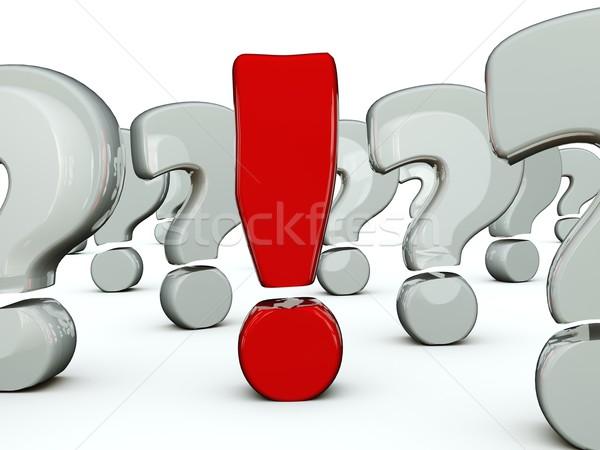 Stock fotó: Piros · felkiáltójel · kérdések · absztrakt · kérdés · fehér