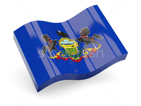 Ondulado ícone Pensilvânia bandeira Foto stock © MikhailMishchenko