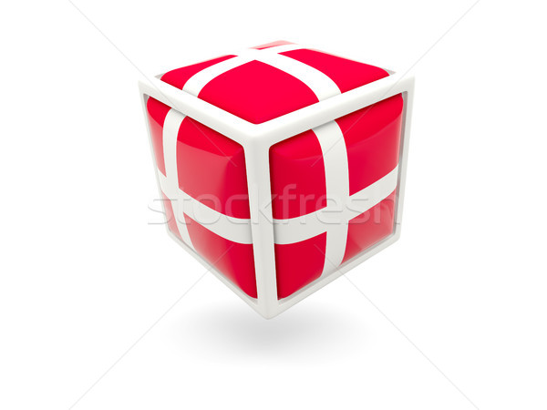 Vlag Denemarken kubus icon geïsoleerd witte Stockfoto © MikhailMishchenko