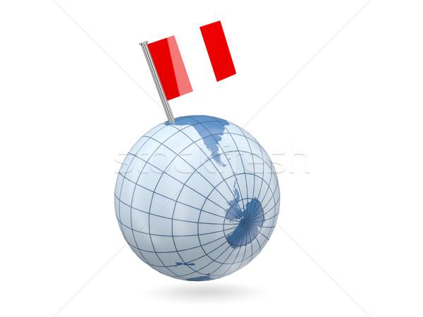 Globo bandeira Peru azul isolado branco Foto stock © MikhailMishchenko