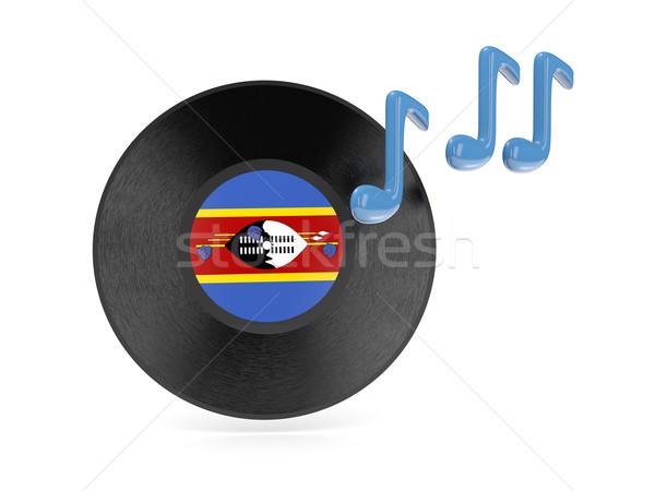 Vinyle disque pavillon Swaziland isolé blanche Photo stock © MikhailMishchenko