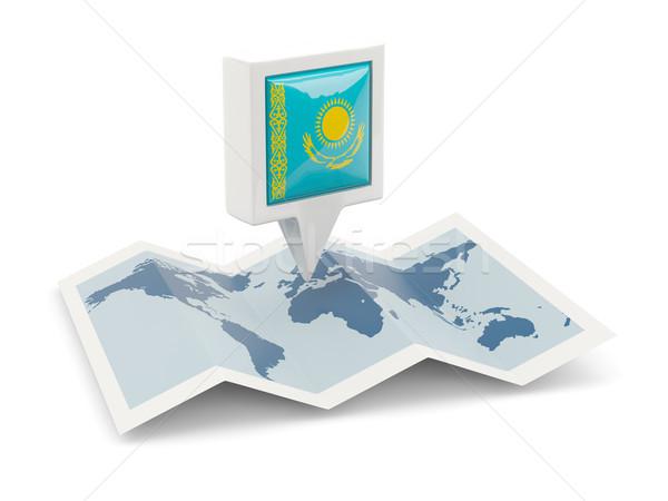 квадратный Pin флаг Казахстан карта путешествия Сток-фото © MikhailMishchenko