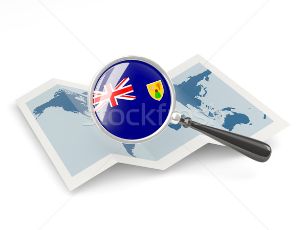 Magnified flag of turks and caicos islands with map Stock photo © MikhailMishchenko