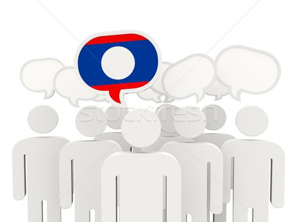 Mensen vlag Laos geïsoleerd witte vergadering Stockfoto © MikhailMishchenko