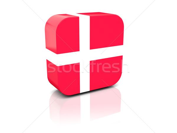 Tér ikon zászló Dánia tükröződés fehér Stock fotó © MikhailMishchenko