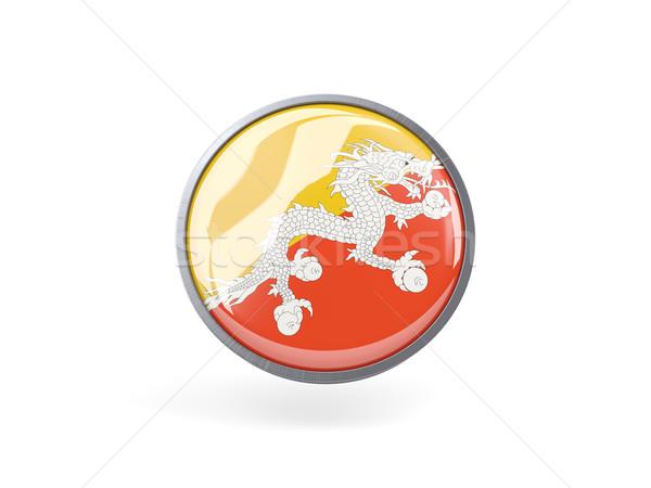 ícone bandeira Butão metal quadro viajar Foto stock © MikhailMishchenko