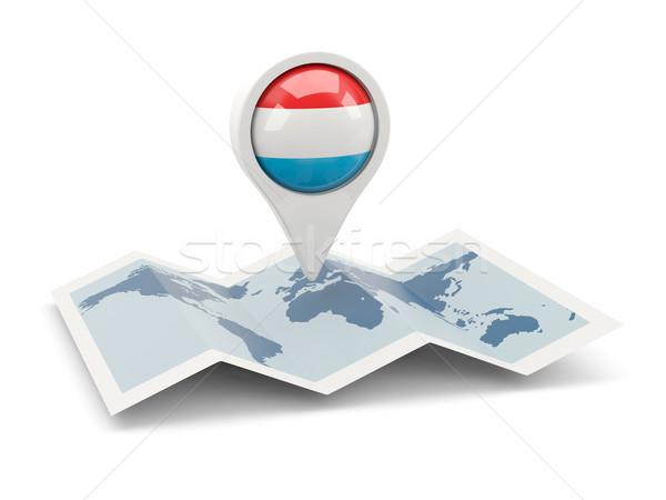 Pin флаг Люксембург карта путешествия белый Сток-фото © MikhailMishchenko